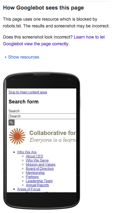 Screenshot of Collaborative.org without styling